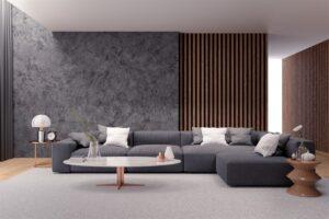 Modern luxury living room interior design, black sofa with dark concrete wall ,3d rendering